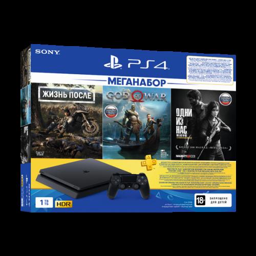 PlayStation 4 (1 ТБ) с 3 хитами и подпиской: Days gone, God of war, Одни из нас